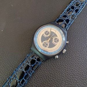 SWATCH 1992 Chrono Retro Collectors Leather Watch